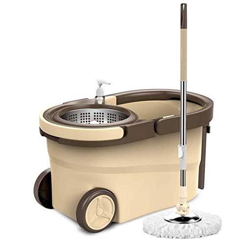 Adesign Sistema de trapeador y Cubo de Giro con Microfibra Cabezales de trapeador de Acero Inoxidable con un dispensador de detergente para la Limpieza del Piso