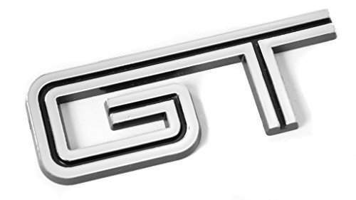 2x Chrome 3D Metal GT Emblem Decal Fender//Bumper//Trunk Self Adhesive Nameplate Replacement For Mustang 5.0 V8 Sport Car Badge Sticker Decorative Black-Chrome