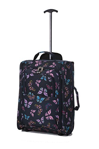 5 Cities Cabin Approved Trolley Bag, Butterflies (Navy), 21-Inch / 55cm