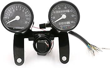 black Motorcycle Speedometer Odometer Gauge with 4 Indicator Functions For Honda Kawasaki Yamaha Suzuki Cafe Racer Old School Bobber