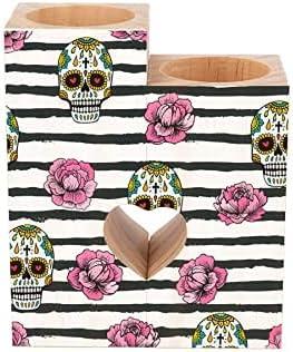 Pillar Candle Holder Sugar Skull Mexico Dia Cheap super special price o Muertos Los free shipping De Day