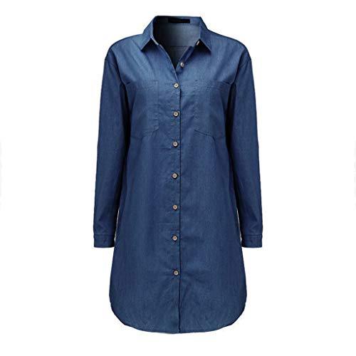 GreatestPAK Damen Hemd Lässig Lange Ärmel Vintage Blau Jeanshemd Denim Oberteile Lang Jahrgang Jeans Bluse