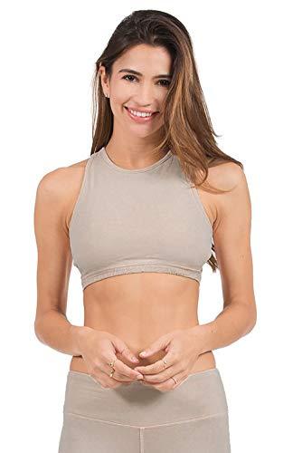 In Touch Sujetador de Yoga orgánico de algodón Suave Inalámbrico, Certificado orgánico para Mujer - Beige - Large