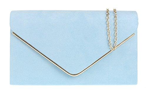 Girly Handbags Faux Wildleder Clutch Bag Umschlag Metallic Frame Plain Design Abend Serenity
