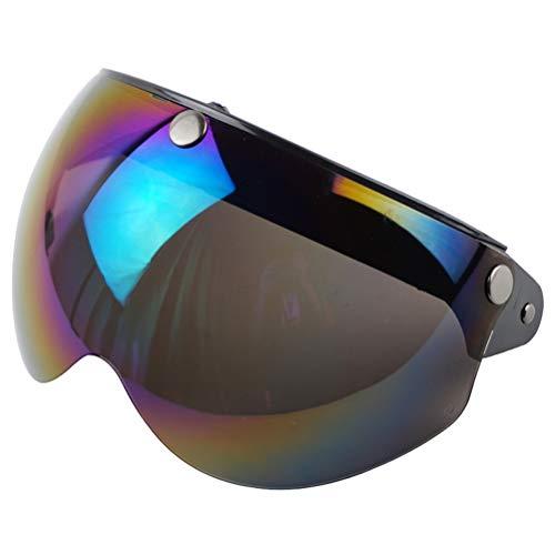 Wopohy Visiera Casco Universale a 3 Pulsanti Protezione Solare Antivento Casco Moto retrò Mezzo Volto Visiera per Casco Moto