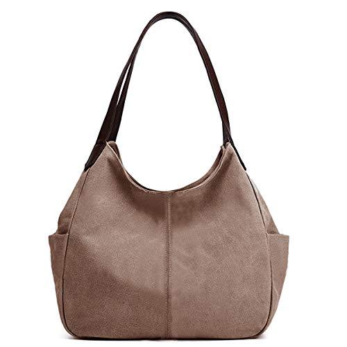 Hiigoo Women's Canvas Totes Bag Shoulder Bag Handbags Messenger Bag Big Shopping Bags (Brown)