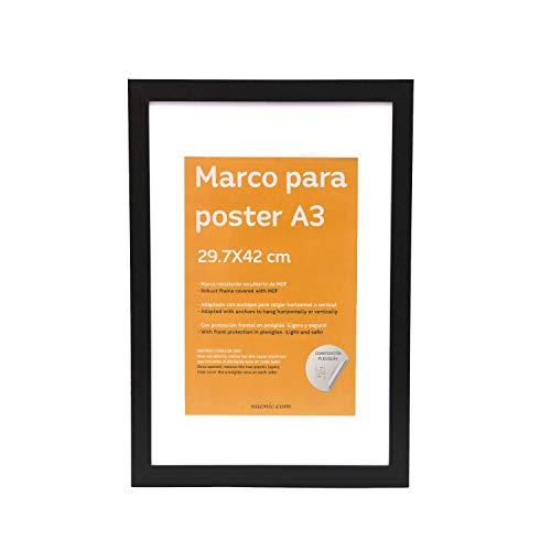 Nacnic Marco Negro tamaño A3 (29.7x42cm) con paspartú. Marco Negro para Fotos, Posters, Diplomas, …