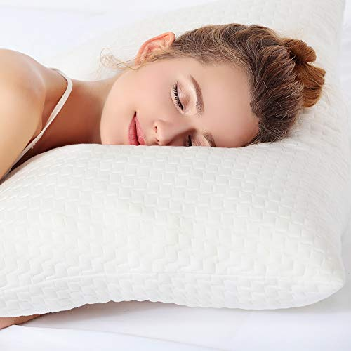 Pillows for Sleeping, Bed Pillow for Side Sleeper, Back Support, Registered with FDA Hypoallergenic CertiPUR-US Shredded Memory Foam for Adjustable Loft, Machine Washable Bamboo Cover - Queen