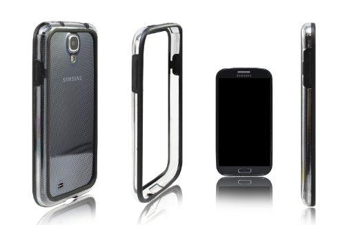 Xcessor Alta qualità Bumper Custodia Classic per Samsung Galaxy S4 i9500. Gomma e Plastica. Nero/Trasparente