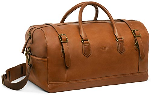 TALENT 'Zuse' Weekender - Ruime reistas XL schoudertas Vintage kalfsleer Cognac
