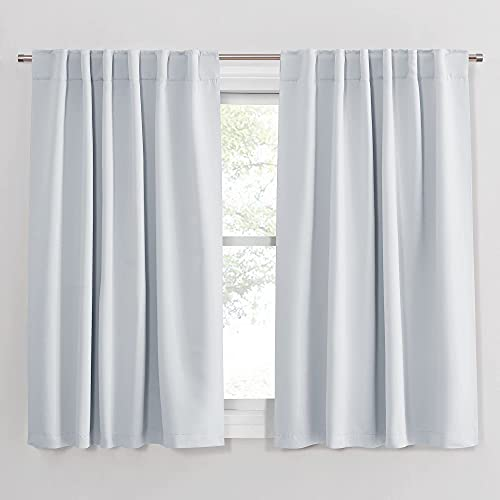 PONY DANCE White Curtains 45 Inches Long - Room Darkening Drapes with Back Tabs & Rod Pocket Design Window Treatments Panels for Decoration, 52 x 45 Inches, Greyish White, 2 PCs