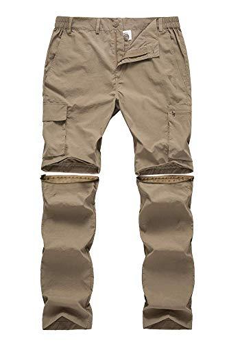 Gash Hao Mens Hiking Convertible Pants Outdoor Waterproof Quick Dry Zip Off Lightweight Fishing Pants(Khaki 32X32)