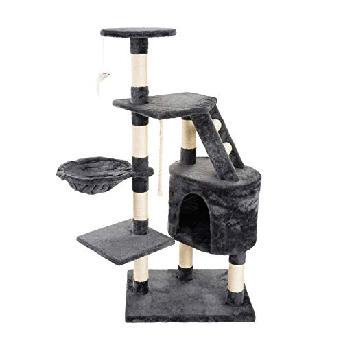 JAMAXX PCT4002 - Albero tiragraffi per gatti, 120 cm, morbido peluche morbido, albero giochi con cuccia e topolino da gioco, colore: grigio
