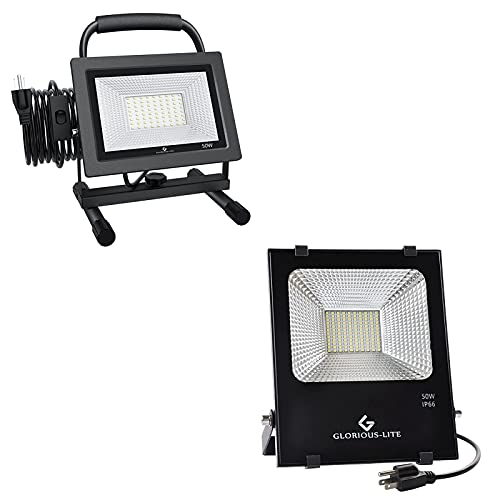 GLORIOUS-LITE 50W LED Work Light, Super Bright Flood Light Outdoor, IP66 Waterproof, with Plug, 6500K White Light, for Garage, Garden, Lawn and Yard