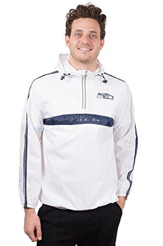 Ultra Game NFL Seattle Seahawks Mens Quarter Zip Pullover Hoodie Packable Windbreaker Jacket, White, X-Large