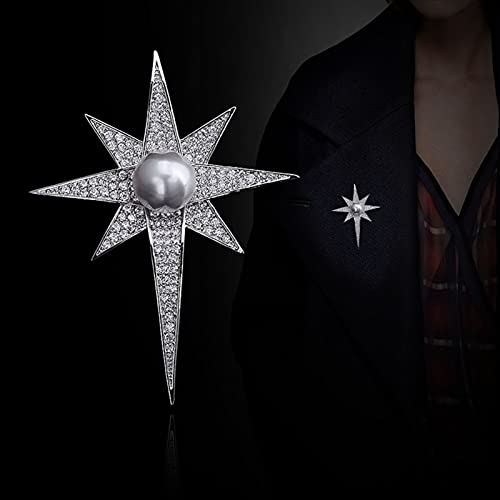 YSJJXTB Broche Plata Cristal Estrella Broche Coreano Mujeres cárdigan Traje de Hombre Pala Insignia Camisa Collar de Collar Accesorios (Metal Color : Antique Silver Plated)
