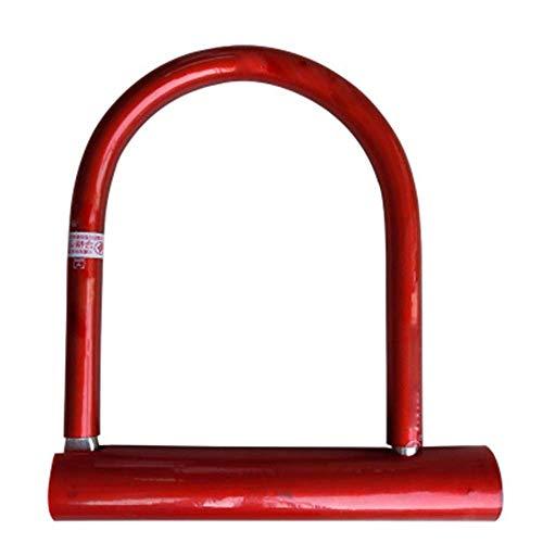 SGSG Cerradura antirrobo de Bicicleta, Cerradura de Bicicleta U Resistente al Desgaste con 3 Llaves para Bicicleta de montaña Motocicleta Cable de bicicleta-18.5cm   Rojo
