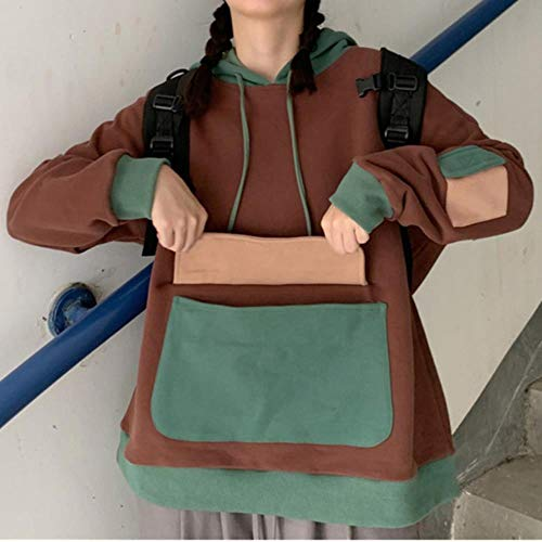 MU-PPX Femmes Big Kangaroo Pocket Hoodie Hiver Épaissir Sweat-Shirts Adolescent Filles Casual Lâche Capuche Pull Top Chaud Outwear, Image, Taille Asiatique M