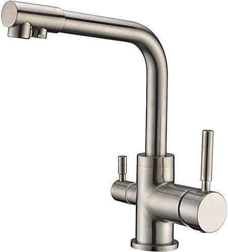 3-Wege-Wasserhahn UNIVERSO NKS Edelstahl Look geeignet für AMWAY eSpring Wasserfilter, 360° schwenkbar! für kaltes, heißes und gefiltertes Wasser, Doppelgriff Ro Trinkwasserhähne, 3-Wege-Küchenarmatur