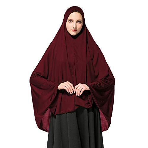 Deloito Damen Kopftuch Muslimischen Gebet Halstuch Lange einfarbig Khimar Tuch Hijab Weich Gemütlich Unter Schal (Weinrot,Large)