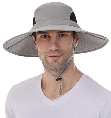 Sombreros de sol para hombres y mujeres sombrero de pesca UPF 50+ transpirable impermeable sombrero de ala ancha, Cubeta, M-L, Camo Mesh Negro