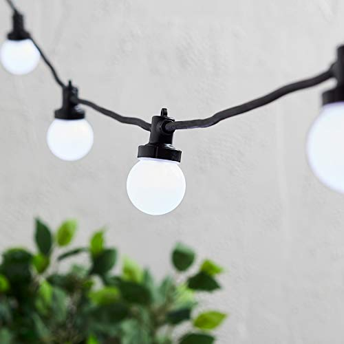 Lights4fun Pro Connect Outdoor Festoon Lights White LED Opaque Cap Black Cable 15m Plug in IP44