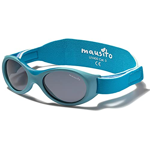 Mausito® BABY Sonnenbrille 0-1,5 Jahre Jungen & Mädchen I biegsame Sonnenbrille für Kleinkinder I 100% AUGEN UV SCHUTZ I verstellbares Band I WEICHER NASENBÜGEL I Cool flexible Baby sunglasses (Blau)