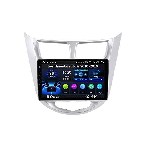 Android Autoradio GPS Navegación 9 Pulgadas Coche Audio Radio para Hyundai Solaris 2010 -2016 8 Cores 4G+64G Pantalla Tactil para Coche Accesorios De Coche Conecta Y Reproduce Car Audio Player