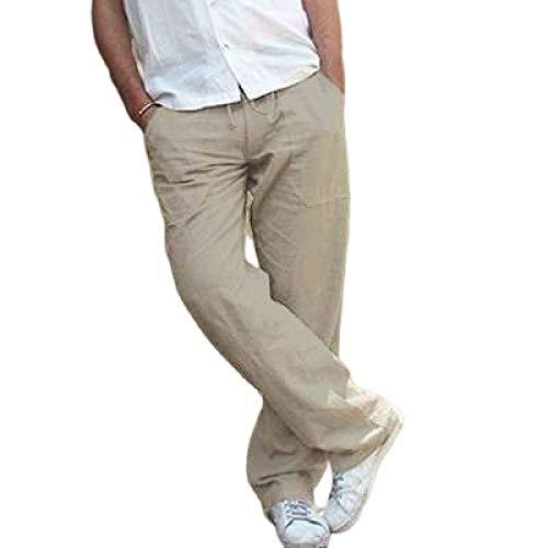 Monos con cordón de Color Liso para Hombre Pantalones Casuales Pierna Recta Pantalones Cargo cómodos con múltiples Bolsillos al Aire Libre M