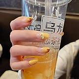 Uñas postizas 24 piezas/caja de color amarillo prensa falsa en productos acabados de uñas, puntas de uñas, vestido, cubierta completa, uñas artificiales para niña