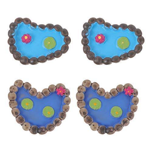 DOITOOL 4 miniaturas para decoración de jardín de hadas, micro paisajes, piscina, miniatura, accesorios de jardín para bricolaje, jardín de hadas, bonsái, casa de muñecas, color al azar
