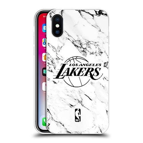 Head Case Designs Official NBA White Marble 2018/19 Los Angeles Lakers Silver Metallic Aluminium Bumper Compatible for iPhone X/iPhone XS