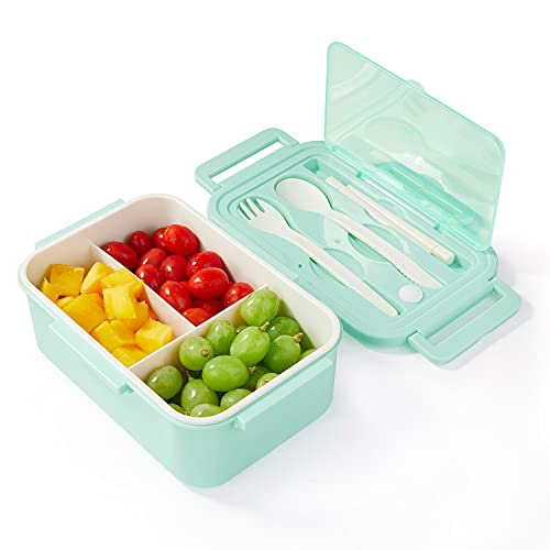 Bento Japonés Con Tres Compartimentos y Cubiertos   Fiambrera Hermética   Sin BPA   Apto Microondas y Lavavajillas   1400ml (Verde)