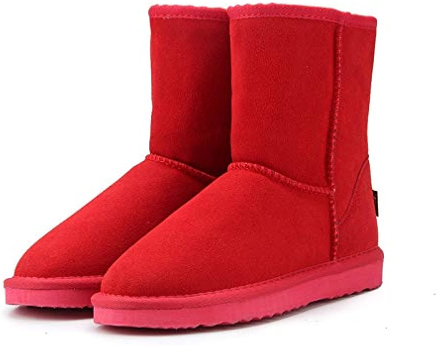 Fumak Classic Genuine Cowhide Leather Snow Boots 100% Wool Women Boots Warm Winter shoes for Women Large Size 34-44