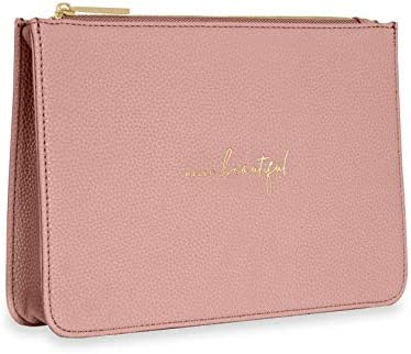Katie Loxton Hello Beautiful Womens Structured Vegan Leather Fashion Pouch Clutch Bag Pink