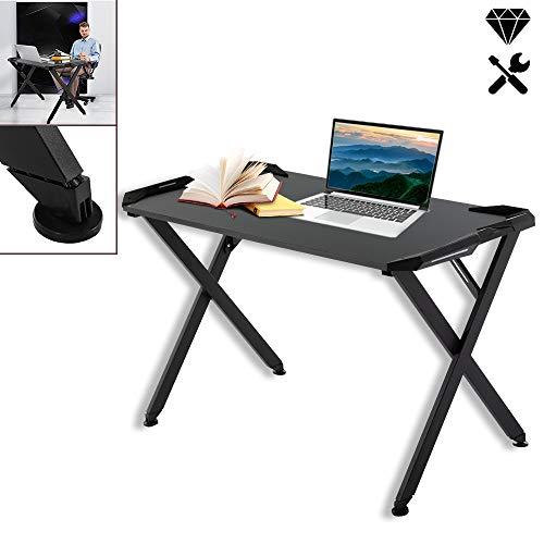 Aufun Gaming Tisch Groß Computer PC-Tisch, Schwarz Ergonomic Computertisch X-Form, Gaming Table Schreibtisch