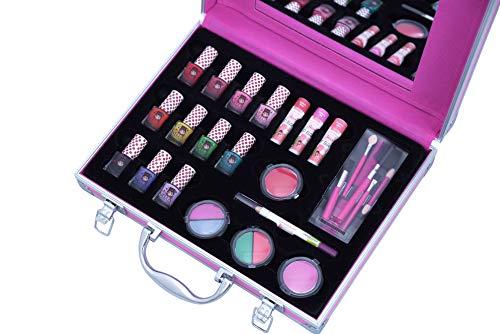 Miss NELLA kompletter pinker Koffer- abziehbarer, non- toxischer Nagellack, hypoallergenes Makeup Spielzeug, sicher für Kinder.