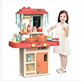 JBM Country Link  Kitchen Playset, with Realistic Lights and Sounds, Play Sink with Running Water, Dessert Shelf Toy and Kitchen Accessories Set for 4-Year-Old Girls (36 Pieces)