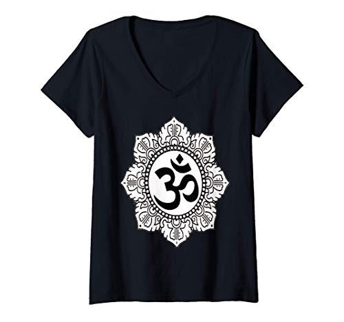 Mujer OM T shirt regalo yoga espiritual mandala meditación encanto Camiseta Cuello V