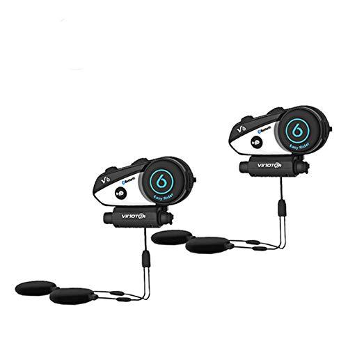 V6 Motocicleta Casco Auriculares Bluetooth Estéreo Headphone Conexión multipunto BT Interphone (Color : V6 2PCS)