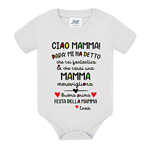 Body bimbo e bimba neonato neonata Ciao mamma, buona prima festa della mamma! Personalizzato con nome del bebè! Bianco! (6 mesi)