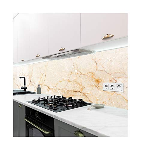 Displayhersteller | Selbstklebende Küchenrückwand | Motiv Marmor beige | adhesive kitchen wall design | Wandtattoo | Wandbild Küche | Wand-Deko | Klebe-Folie | Wandgestaltung