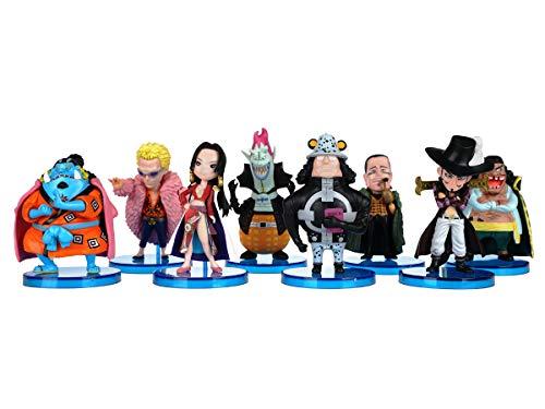 CoolChange One P. Mini Figuren Set, PVC, 8 Figuren von Dracule Mihawk, Jinbe, Sir Crocodile, Donquixote Doflamingo etc.
