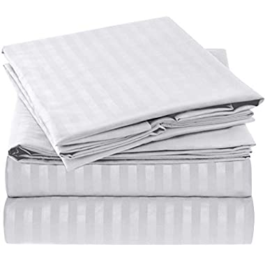 Mellanni Striped Bed Sheet Set Brushed Microfiber 1800 Bedding - Wrinkle, Fade, Stain Resistant - Hypoallergenic - 4 Piece (King, White)