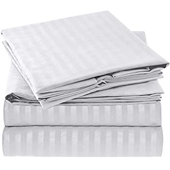 Mellanni Queen Sheet Set - Hotel Luxury 1800 Bedding Sheets & Pillowcases - Extra Soft Cooling Bed Sheets - Deep Pocket up to 16  - Wrinkle Fade Stain Resistant - 4 Piece  Queen Striped - White