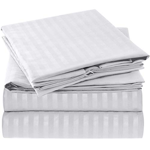 """Mellanni King Size Sheet Set - Hotel Luxury 1800 Bedding Sheets & Pillowcases - Extra Soft Cooling Bed Sheets - Deep Pocket up to 16"""" - Wrinkle, Fade, Stain Resistant - 4 Piece (King, Striped - White)"""