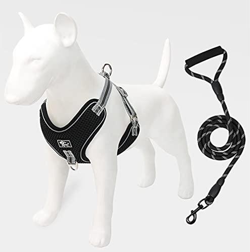 GMYQ Arnés para perro sin tirar, transpirable, ajustable, malla transpirable, ligera, fácil de controlar para caminar al aire libre, cómodo chaleco para mascotas-negro_4XL