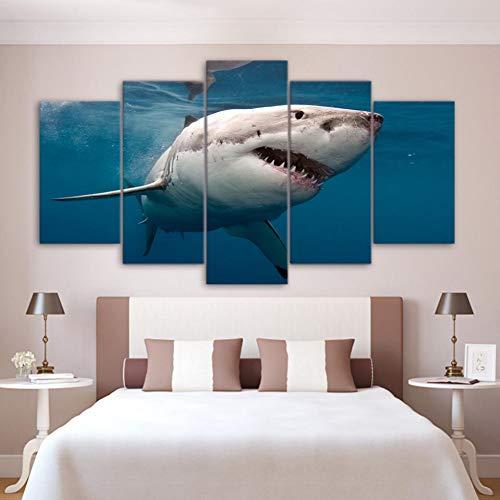 HGKJDL Dekorative Malerei Kunst Dekoration Poster HD Drucken Moderne Malerei 5 Panel Weißer Hai Modulare Bild Wand Wohnzimmer Auf Leinwand