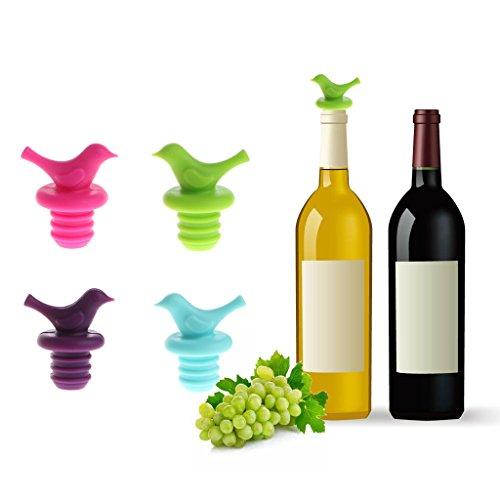 Cuigu 4 Couleurs Forme de l'oiseau Mignon Silicone scellé sous Vide Boissons Champagne Bouchon de Bouteille Bouchon de vin (Vert)