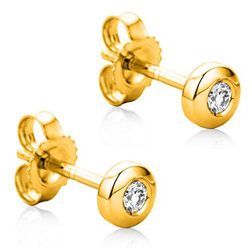 Orovi Orecchini Donna Solitario Piccoli a Lobo in Oro Giallo con Diamanti Taglio Brillante Ct 0.08 Oro 9 Kt / 375